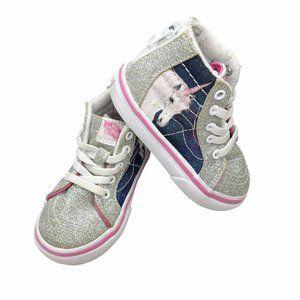 Vans Sk8 Hi Zip Unicorn Silver Glitter Skate Shoes